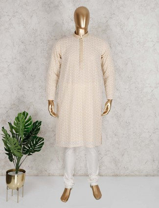 Magestic peach cotton kurta suit for mens