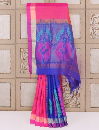 Magneta and blue color silk saree