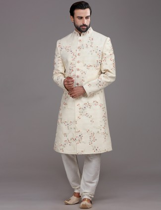 Magnificent cream raw silk sherwani