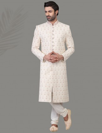 Magnificent white jacquard silk sherwani