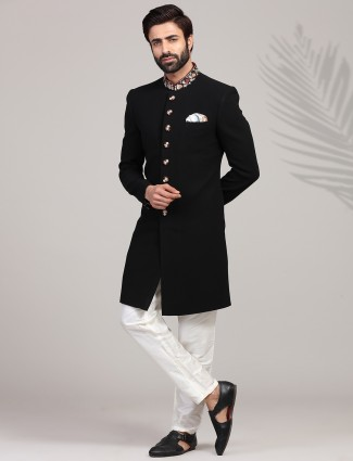 Majestic solid black terry rayon indo western set