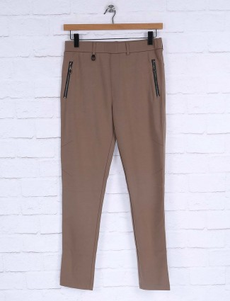 Maml beige solid track pant