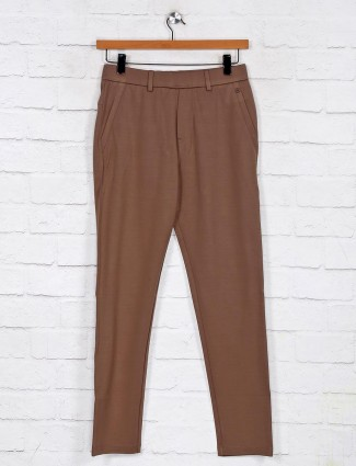 Maml brown cotton solid night track pant