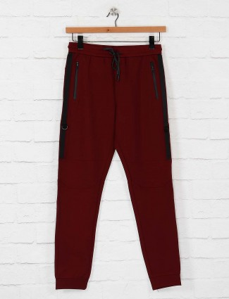 Maml comfortable maroon colored track pant