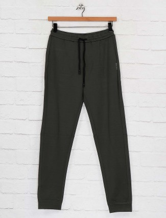 Maml green color solid track pant
