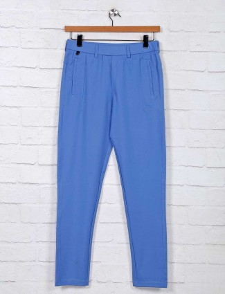 Maml light blue solid night track pant