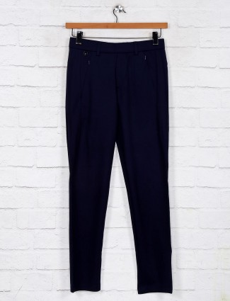Maml navy solid track pant