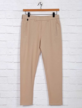 Maml solid beige cotton track pant
