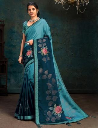 Marble chiffon sky blue festive wear saree