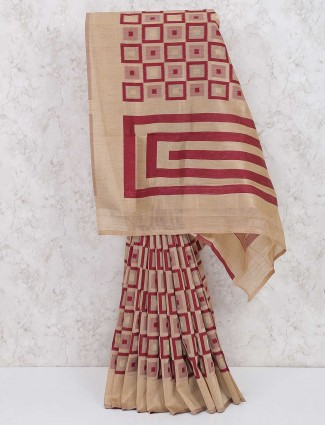 Maroon and beige color lovely saree in cotton silk