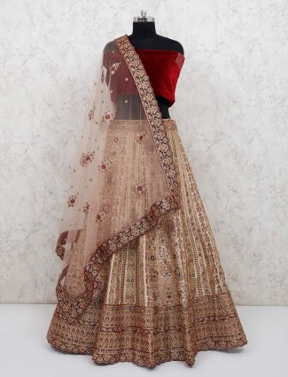 Maroon and beige velvet lehenga choli for wedding