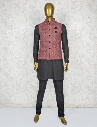 Maroon and black printed terry rayon waistcoat set