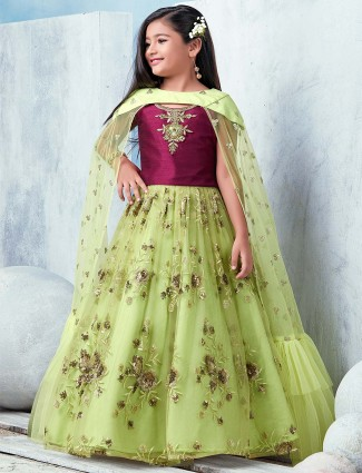 Maroon and green designer lehenga choli in net