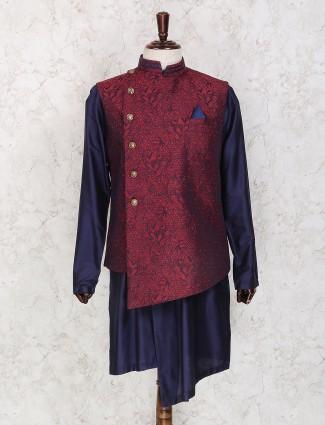 Maroon and navy silk waistcoat set