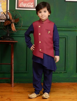 Maroon and navy waistcoat set for party function