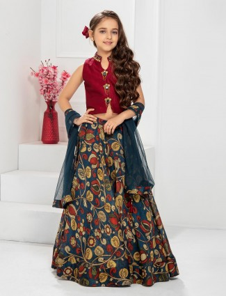 Maroon and navy wedding lehenga choli in raw silk