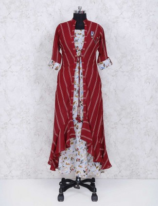 Maroon and white printed jecket style kurti