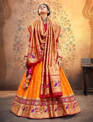 Maroon and yellow banarasi silk wedding semi stitched lehenga choli