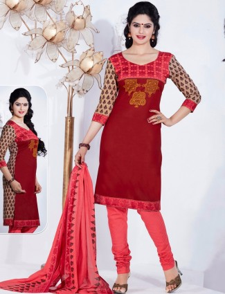 Maroon attractive cotton printed casual wear ready made salwar suit