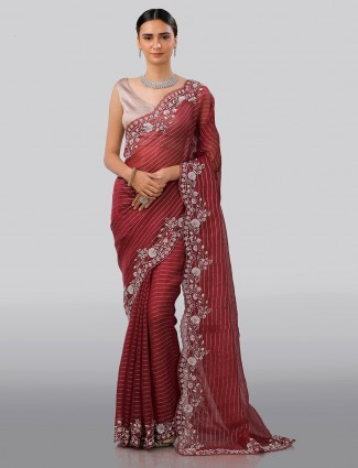 Wine maroon organza tissue silk saree