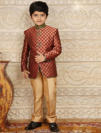 Maroon brocade boys jodhpuri coat suit