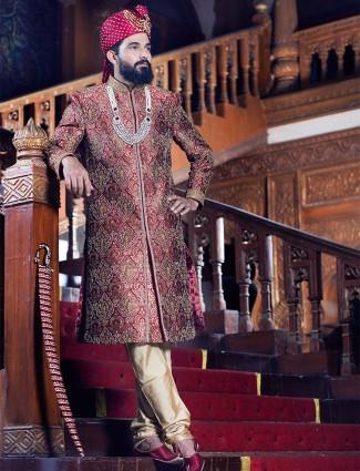 Maroon classy jamawar sherwani