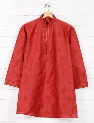 Maroon color cotton festive wear kurta