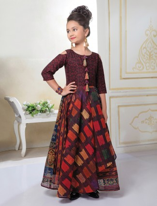 Maroon color cotton silk fabric gown