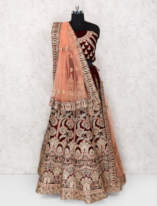 Maroon color designer bridal wear semi stitched lehenga choli