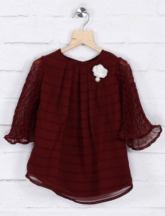 Maroon color georgette casual top