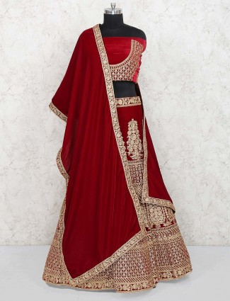 Maroon color gorgeous semi stitched lehenga choli