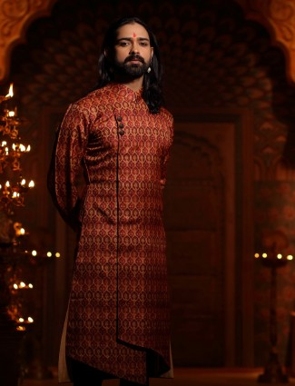 Maroon color kurta suit for wedding function
