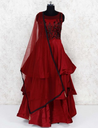 Maroon color layer style lovely gown in satin