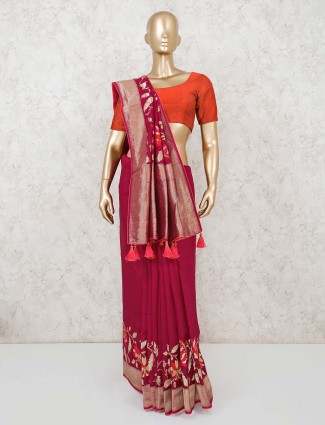 Maroon color muga silk saree with