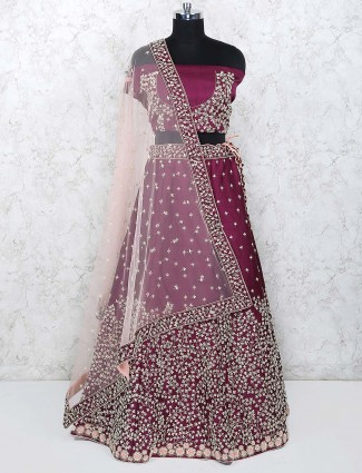 Maroon color raw silk semi stitched lehenga choli