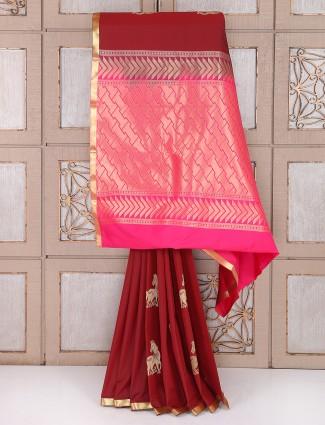 Maroon color semi silk fabric saree