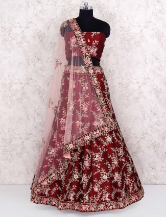 Maroon color semi stitched lehenga choli
