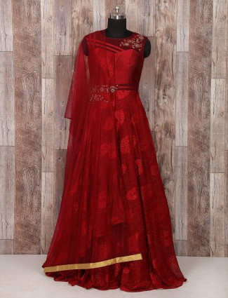 Maroon color silk designer anarkali suit