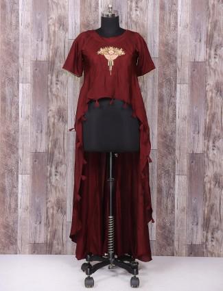 Maroon color silk designer suit