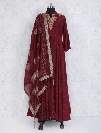 Maroon color silk fabric anarkali suit