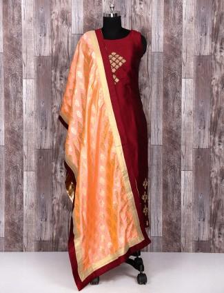 Maroon color silk fabric salwar suit