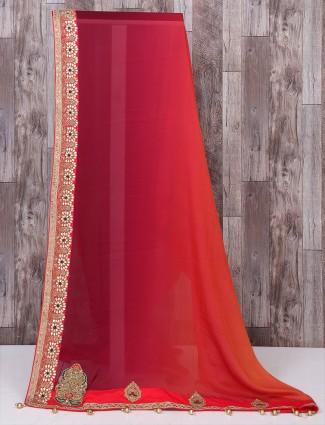 Maroon color georgette saree for wedding