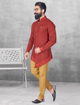 Maroon color silk kurta suit