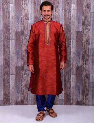 Maroon color silk wedding wear kurta suit