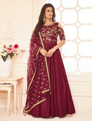 Maroon color silk wedding wonderful anarkali suit