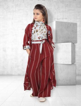 Maroon color stripe pattern indo western salwar suit
