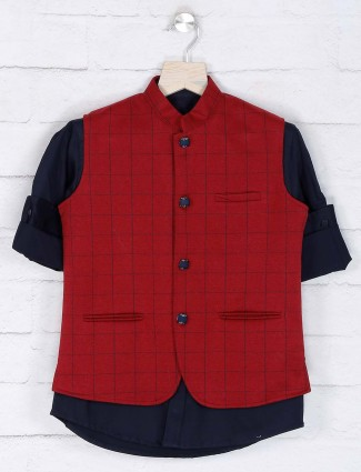 Maroon colored cotton fabric waistcoat