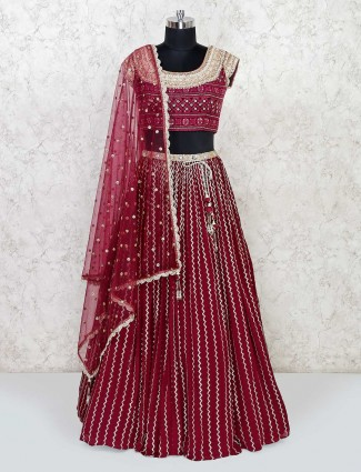 Maroon colored lehenga in georgette