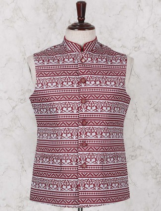Maroon colored printed jute waistcoat