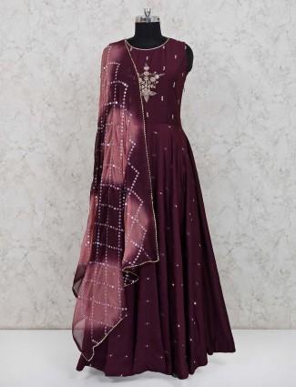 Maroon cotton anarkali suit for festive function